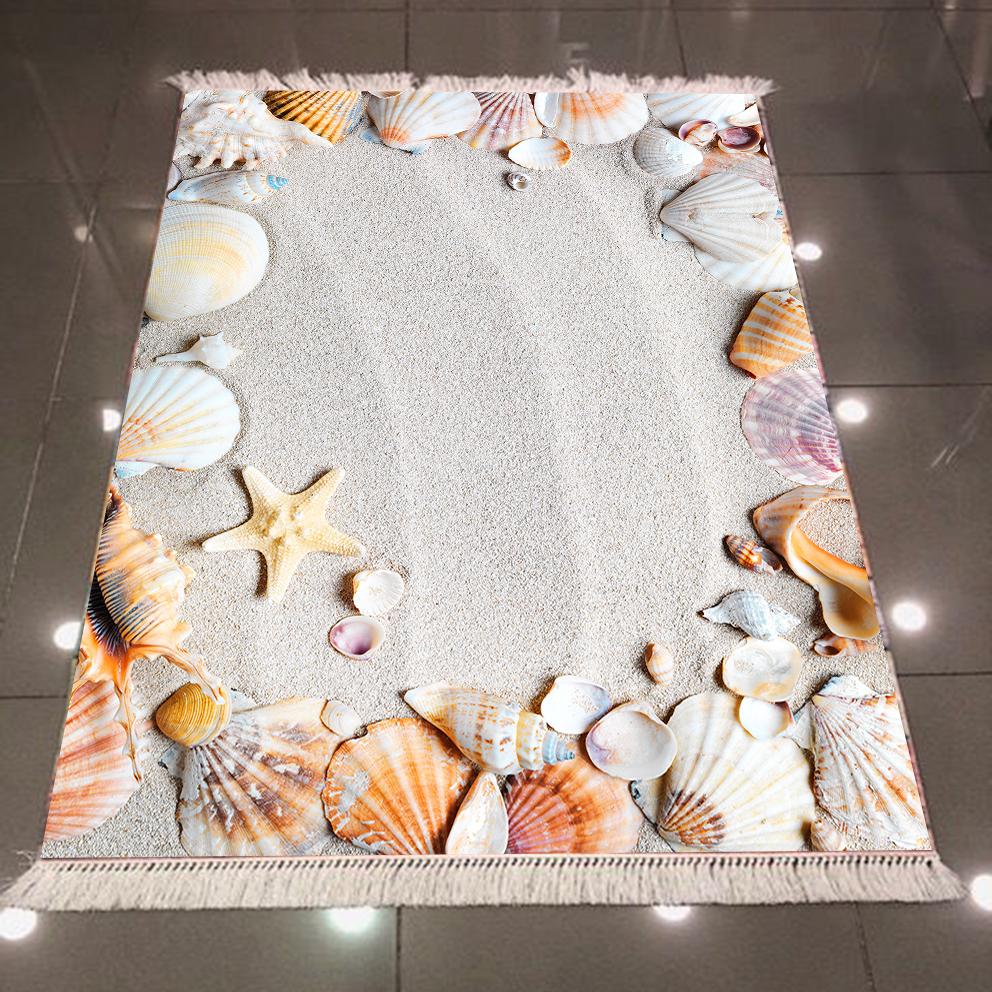 Else Tropical Gray Beach Sand Brown Yellow Sea Shell Star 3d Microfiber Anti Slip Back Washable Decorative Kilim Area Rug Carpet