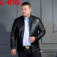 plus size 8XL Motorcycle Leather Jackets Men Solid Business Casual Coats Autumn Winter Leather Clothing Bomber Jacket for Male