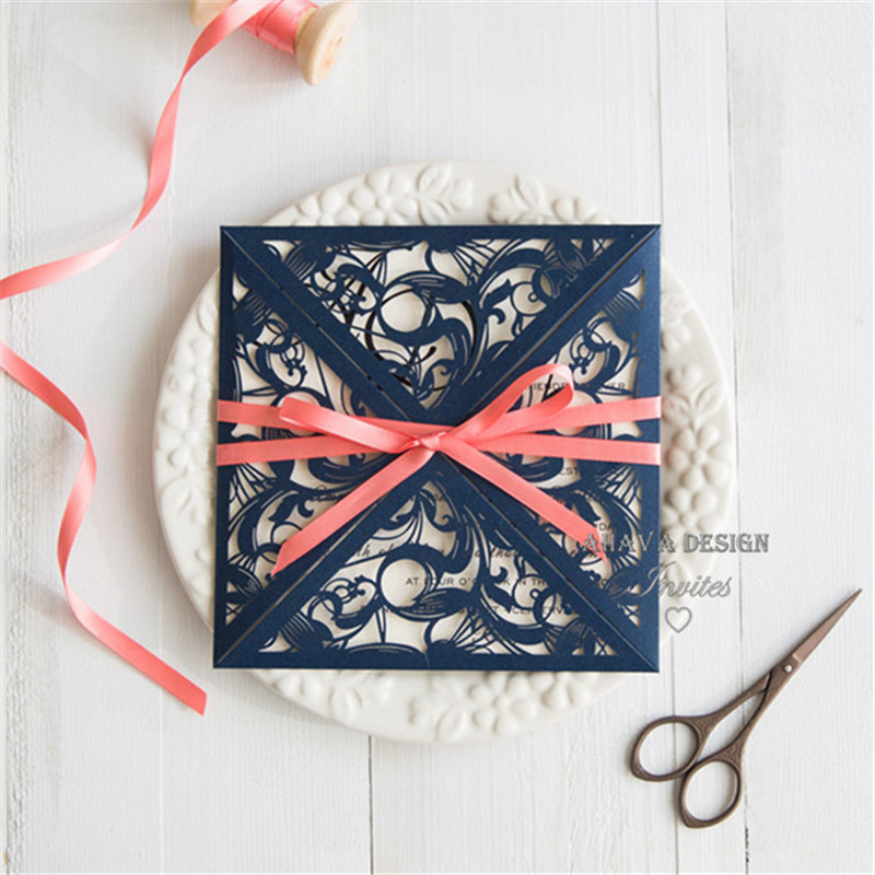 Gorgeous Navy Blue Laser Cut Wedding Invitation With Coral Ribbon