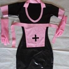 Сексуальное женское черное латексное резиновое платье, цельное длинное платье, розовый фартук, перчатки с молнией сзади