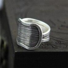 999 Sterling Silver Rings Chiang Mai Handmade For Men And Women Vintage Black Finger Ring WT077