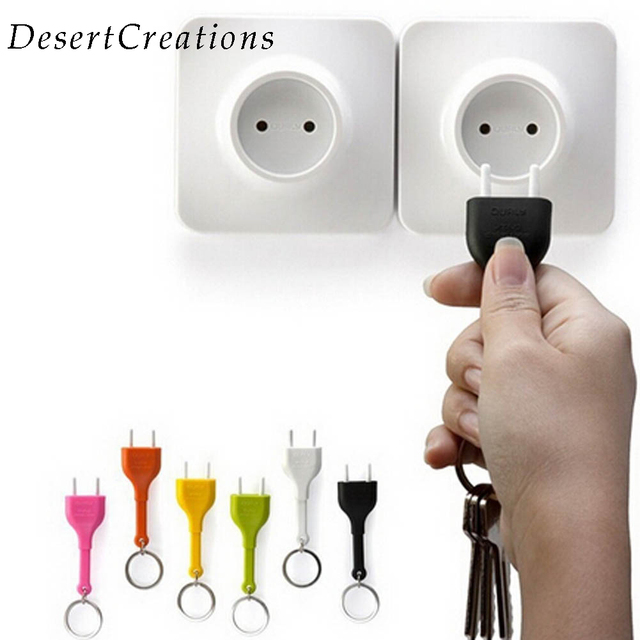 Random Color Cute Home Wall Decroation Design Unplug Keyring Eu Plug Socket Keychain Key Ring Holder
