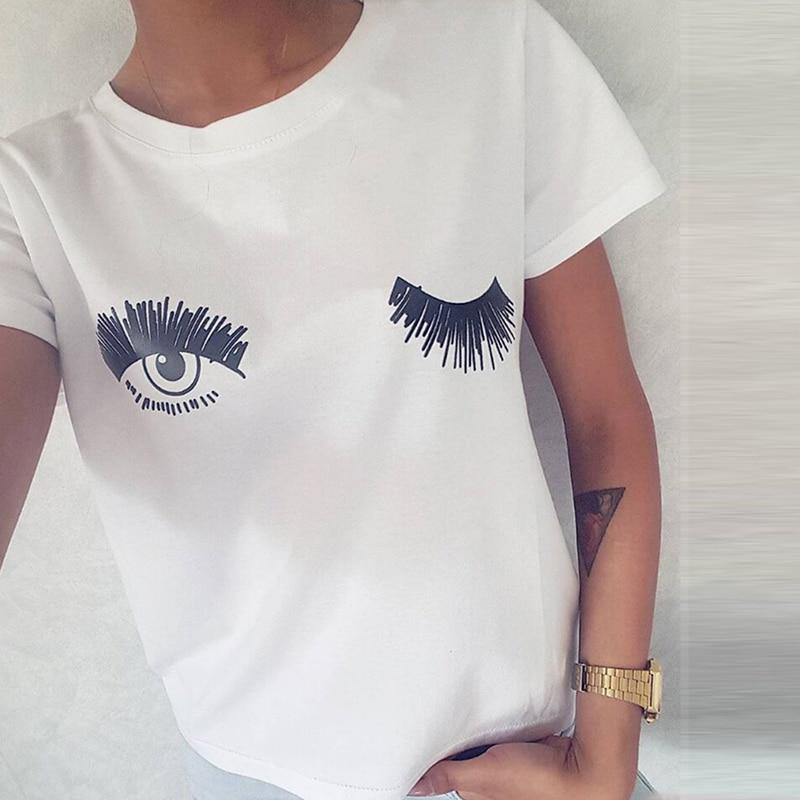 ecddd8bb316 Новые повседневные женские топы с коротким рукавом футболки милые футболки  с принтом глаз и ресниц белые