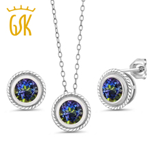3.00 Ct Blue Mystic Topaz 925 Sterling Silver Pendant Earrings Set With Chain