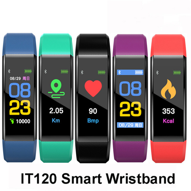 Pedometer Bracelet Wristband Running-Step-Calorie-Tracker Bluetooth Id115-Plus LCD Heart-Rate