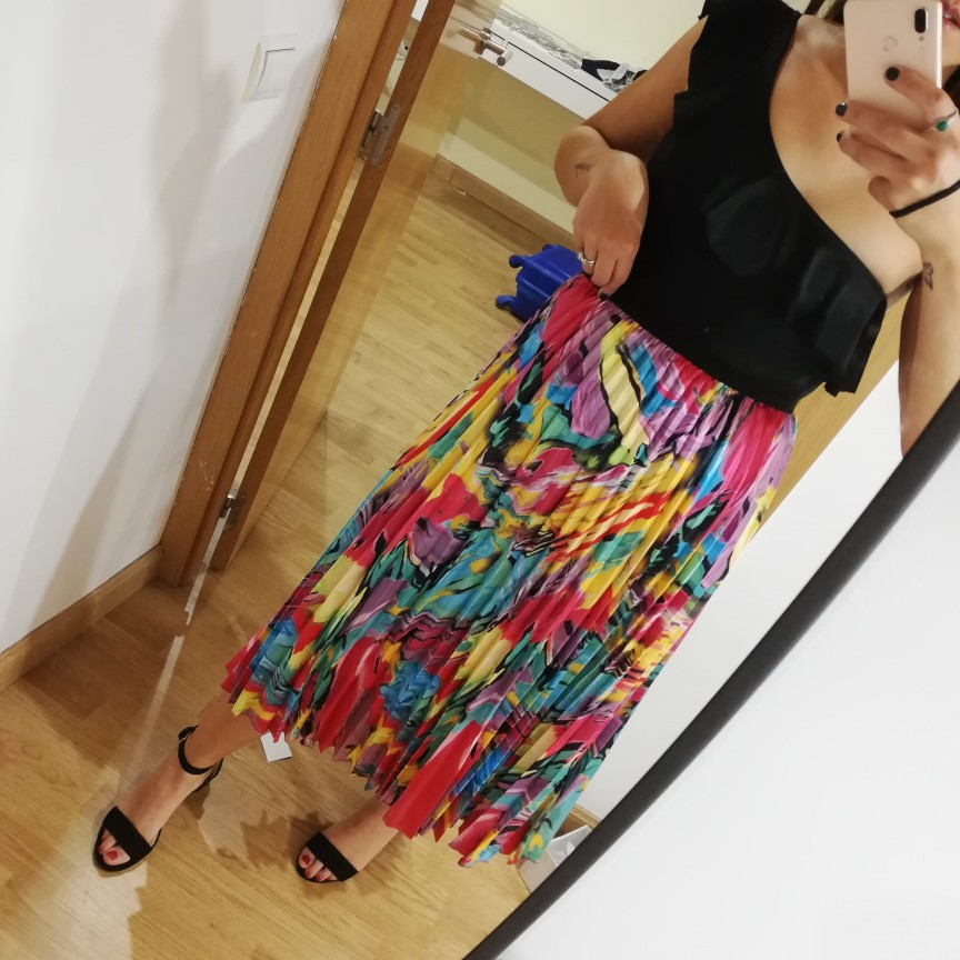 Coming Spring Eurpoean High Street Style A Line Floral Pattern Mid Calf Vacation Skirt High Quality Women Skirts photo review