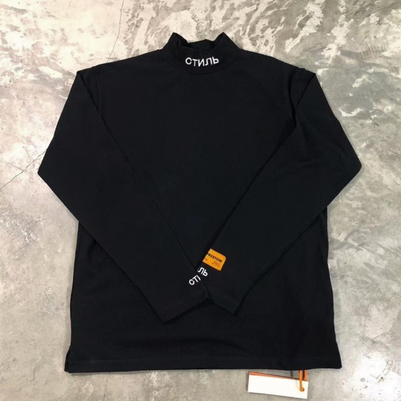 3f76f34be1008 Best Version Heron Preston Turtleneck Long Sleeve Tshirt Hiphop Relaxed Fit Tops  Embroidered text At Collar