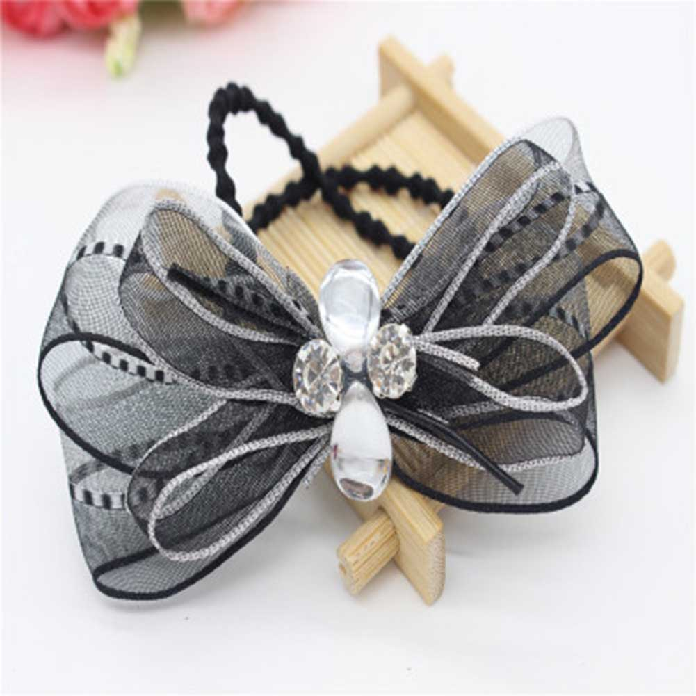 Children Headdress Double Bowknot Hair Ropes Elastic Rubber Hair Ornaments Girls Hair Accessories Ribbon Rhinestone Headdress