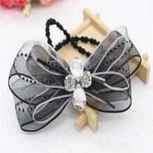 Children Headdress Double Bowknot Hair Ropes Elastic Rubber Hair Ornaments Girls Hair Accessories Ribbon Rhinestone Headdress