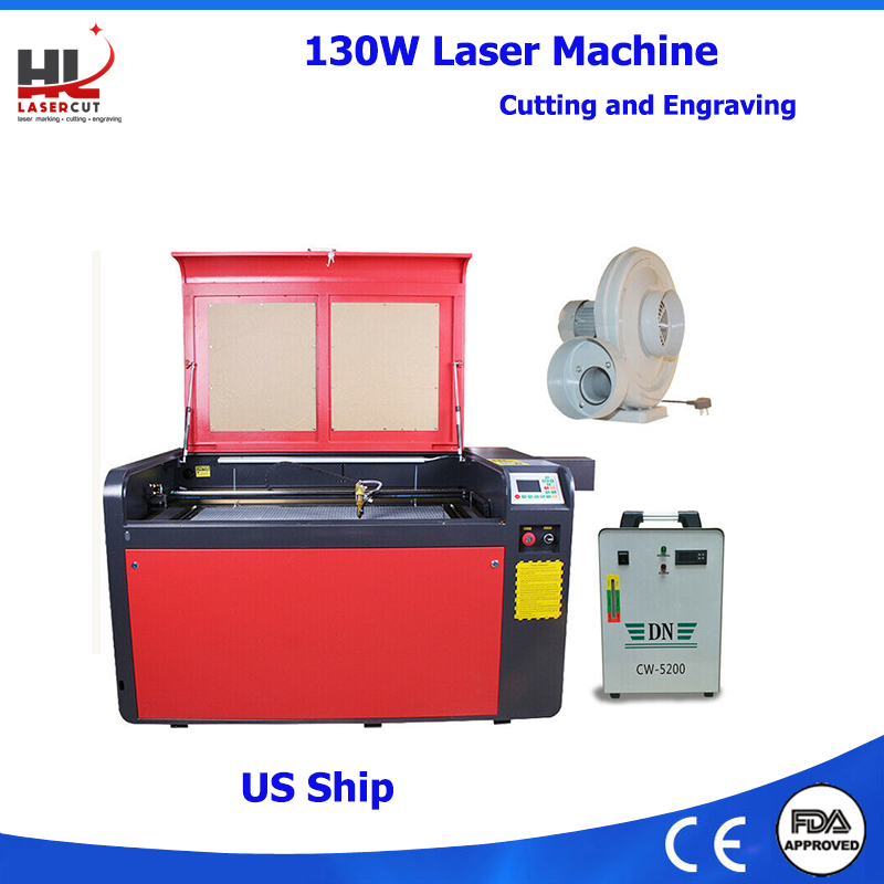 US Ship RECI 130W Laser Cutting Machine 1000*600MM CO2 Laser Engraving Machine for Acrylic Leather CW5200 80F Rotation Axis