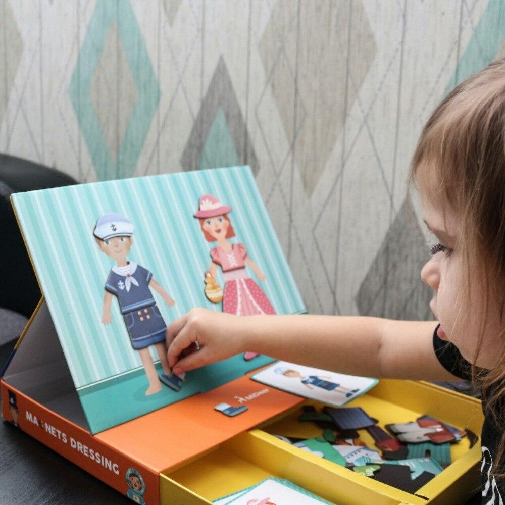 3D puzzle magnetyczne do gry-układanki zabawki edukacyjne dla dzieci zabawne magnesy zmienić ubranie Borad dla dzieci
