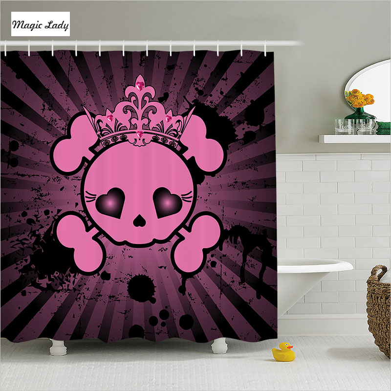 Shower curtains for girls bathroom accessories art skull for Bathroom accessories for girls