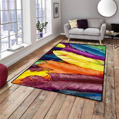 Else Orange Yellow Blue Green Bird Feathers 3d Print Non Slip Microfiber Living Room Decorative Modern Washable Area Rug Mat
