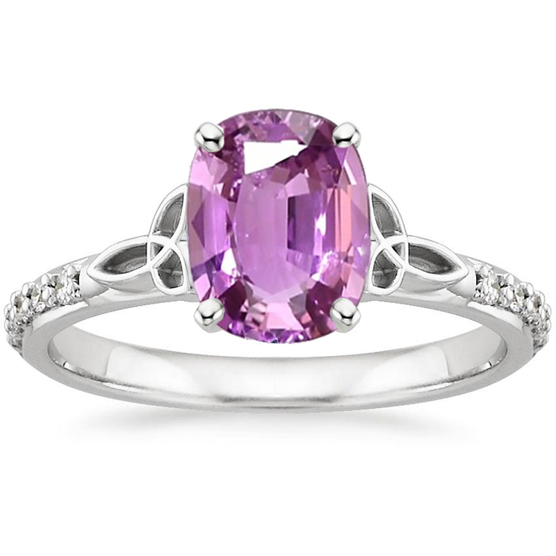 ANI 18K White Gold (AU750) Women Wedding Ring Certified Solitaire Natural Pink Sapphire Oval/Rectangle Shape Engagement Gem Ring браслет gem miners bb0002 18k 7 65ct