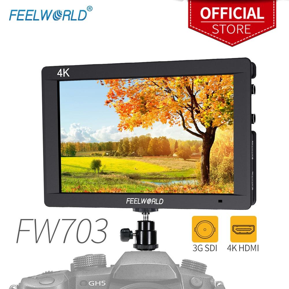Feelworld FW703 7 Pouces 3G-SDI 4 K HDMI Moniteur 7 IPS 1920x1200 Full HD Caméra moniteur de terrain avec histogramme Peaking point Zèbre