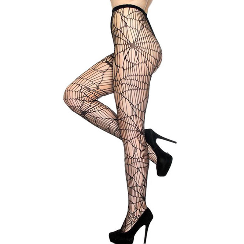 Adult Women Halloween Scary Spiderweb Pantyhose Costume Accessory Sexy High Waist Nylon Mesh Net Fishnet Tights For Ladies