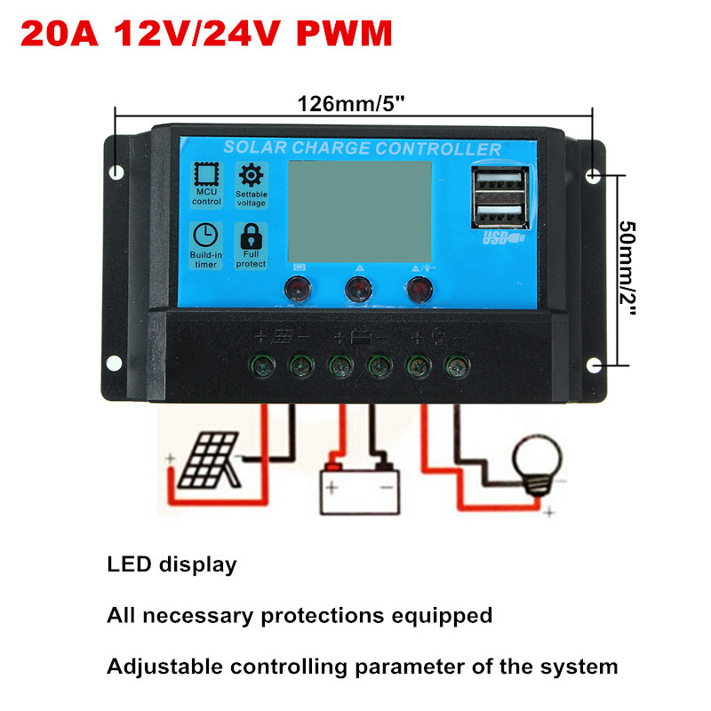 LEORY 12V/24V 20A Solar Controller Solar Panel Charger PWM Controller LCD Display Panel Solar system USB Charger Regulator