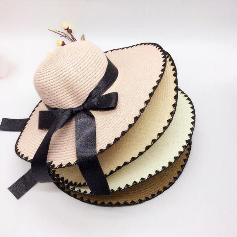 Earnest Seioum Hot Sale Fashion Hepburn Wind Black White Striped Bowknot Summer Sun Hat Beautiful Women Straw Beach Hat Large Brimmed Ha Promoting Health And Curing Diseases Men's Hats Apparel Accessories