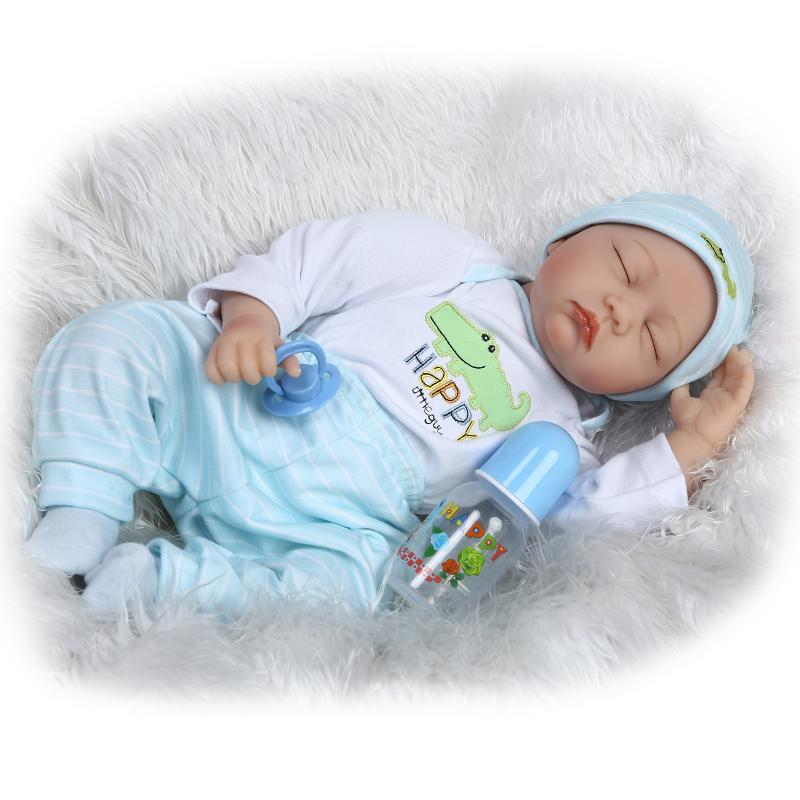 NPK 22'' Silicone reborn dolls realistic bebe sleeping boy painted hair magnetic mouth lovely poupee reborn children toys boneca