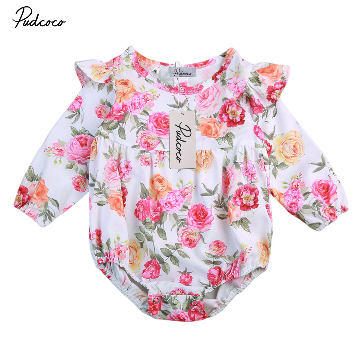 Flower Baby Girl Clothing Newborn Baby Girls Long Sleeeve Floral Romper Jumpsuit 2017 Brand NEW Fashion Clothes Outfits 0-2T