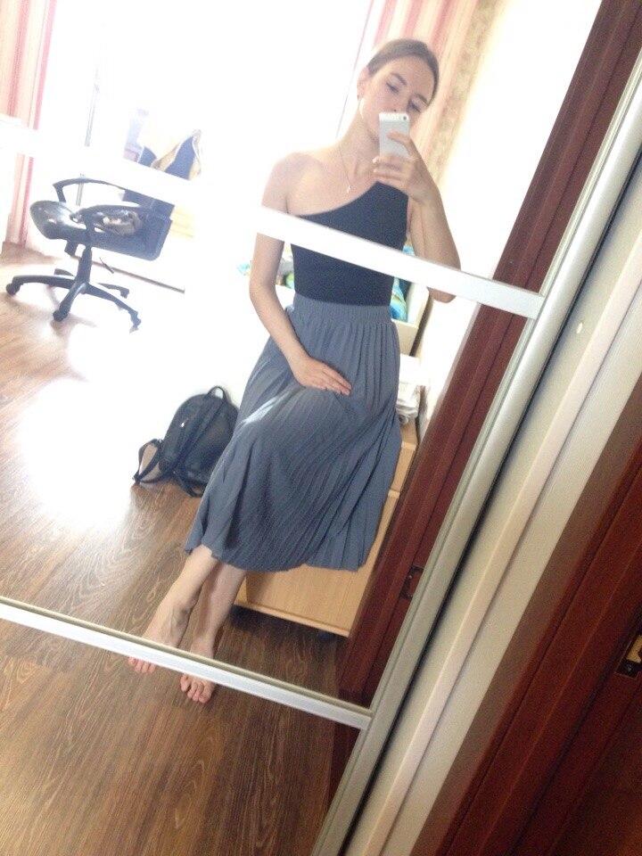 Spring Summer Women Elegant Must Have Pleated Skirts High Waist Elegant Skirt Basic Mid Calf Skirt photo review