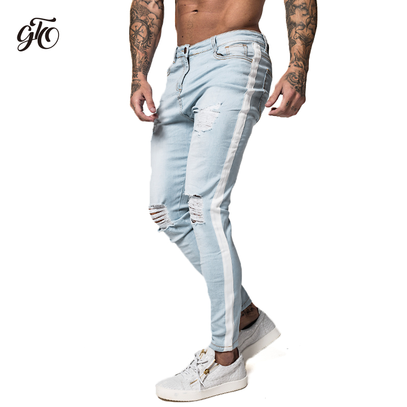 Gingtto Skinny Jeans For Men Distressed Stretch Jeans Ice Blue Ripped Skinny Jeans Slim Fit Dropshipping Supply Tape Design zm27