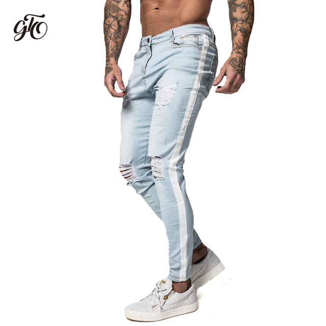 2b720b1a59 Pantalones vaqueros ajustados de Gingtto para hombre Pantalones vaqueros  elásticos desgastados azul hielo rasgados Slim Fit