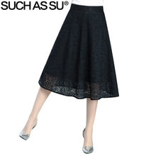 Spring Summer Lace Skirt Women's 2017 Korean Fashion Black Patchwork High Waist S-3XL Size Ladies Pleated Umbrella Skirt