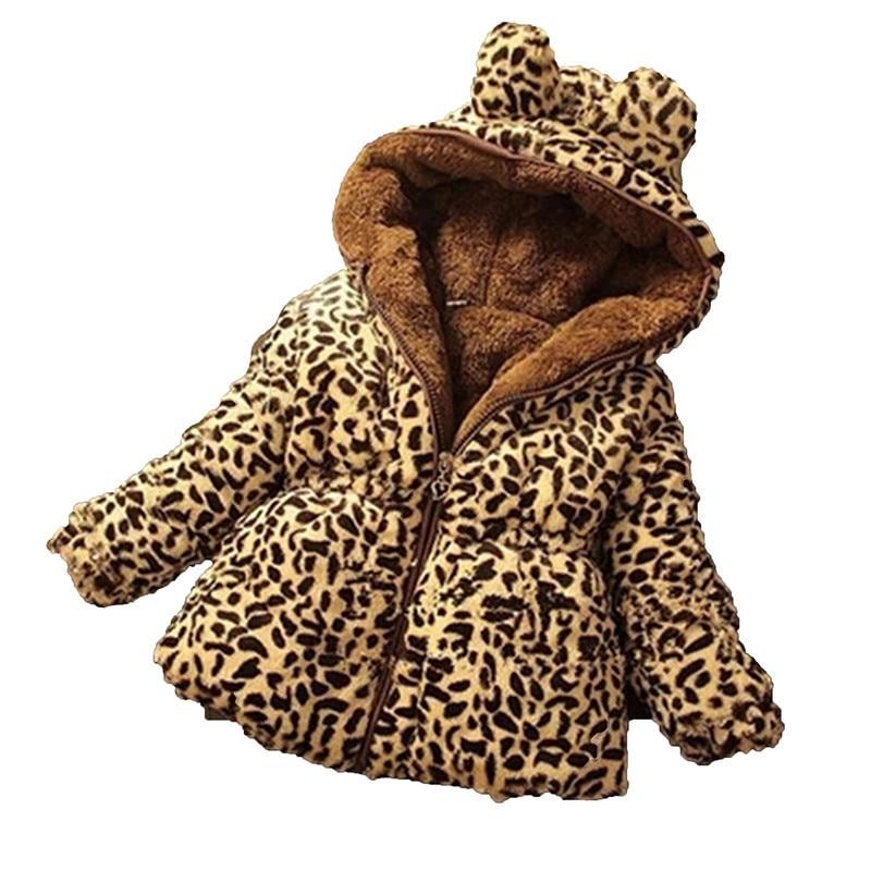 Winter Children Coat Leopard Faux Fox Fur Collar Coat
