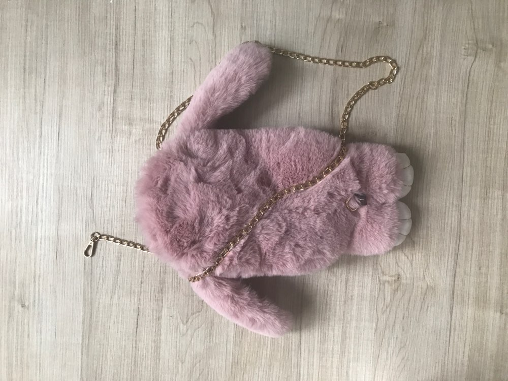 Rabbit soft artifical Fur kids Handbag children Shoulder Bags lady Handbag Messenger Bag Lovely women Shoulder Bag for girl photo review