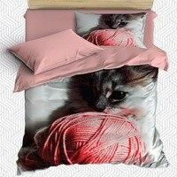 Sonst 4 Stück Rosa Ball von Garn Kätzchen Nette Kleine Katze 3D Druck Baumwolle Satin Einzelnen Bettbezug Bettwäsche Set kissen Fall Bett Blatt-in Bettbezug aus Heim und Garten bei