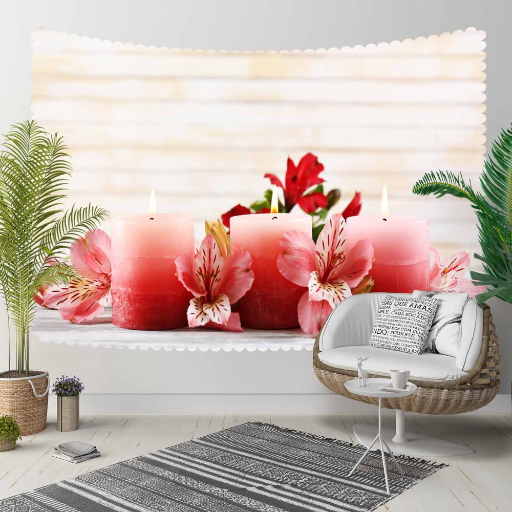 Else Pink Candles Red Flowers Roses Floral 3D Print Decorative Hippi Bohemian Wall Hanging Landscape Tapestry Wall Art
