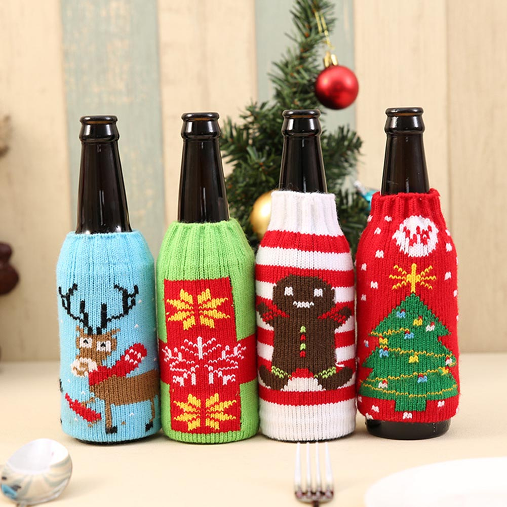 1 Pcs Christmas Snowman Deer knitting stockings candy gift bags Beer Wine bottle sets Christmas Decoration Supplies Xmas Socks