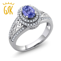 1 31 Ct Oval Blue Tanzanite 925 Sterling Silver Ring Size 5 6 7 8 9