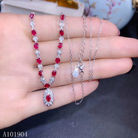 KJJEAXCMY boutique jewelry 925 sterling silver inlaid natural ruby gemstone necklace pendant female models support detection