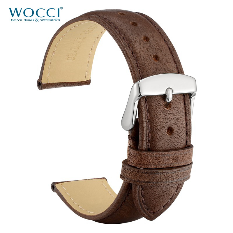 WOCCI 24mm Brown Genuine Leather Watch Strap 14mm 16mm 18mm 19mm 20mm 21mm 22mm Women Men Replacement Watch Bands Crazy Horse-in Watchbands from Watches