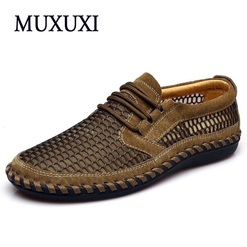 New arrival high quality genuine leather casual shoes men cow suede sof loafers sandals and breathable