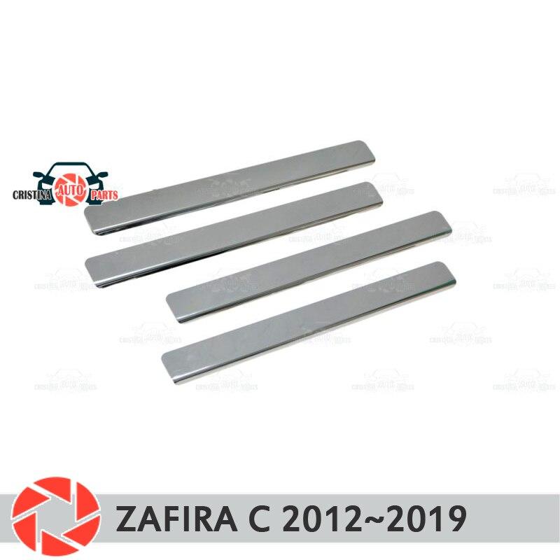 Soleiras de porta para Opel Zafira C 2013 ~ 2019 passo placa interna scuff guarnição acessórios de proteção car styling decoração sem letras