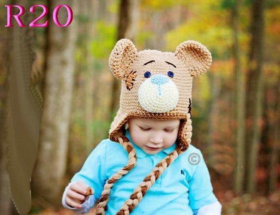 Crochet Baby Hat Bear Handmade Newborn Photography Props Baby boy Cap Beanie EXCELLENT quality!