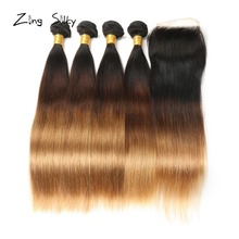 дешево!  Brazilian Remy Hair Weave Bundles With 4x4 Closure Straight Ombre Bundles With Closure Add Hair Zing Silky Human Hair Vendors