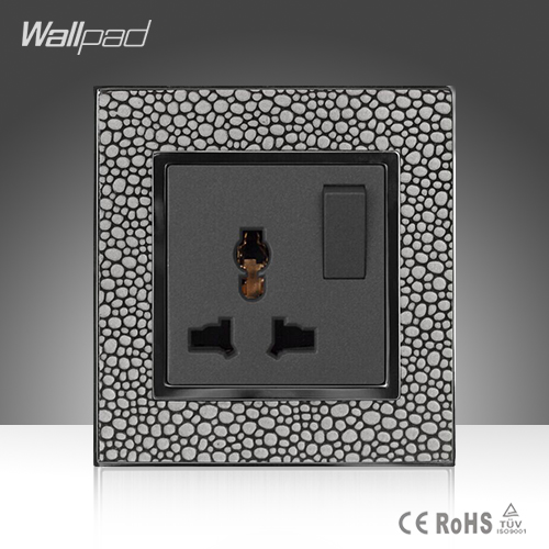 2016 New Arrival Wallpad Smart Home Pearl Leather Frame 10A 13A Universal Electric Socket and 1 Gang 1 Way Switch ,Free Shipping 660v ui 10a ith 8 terminals rotary cam universal changeover combination switch