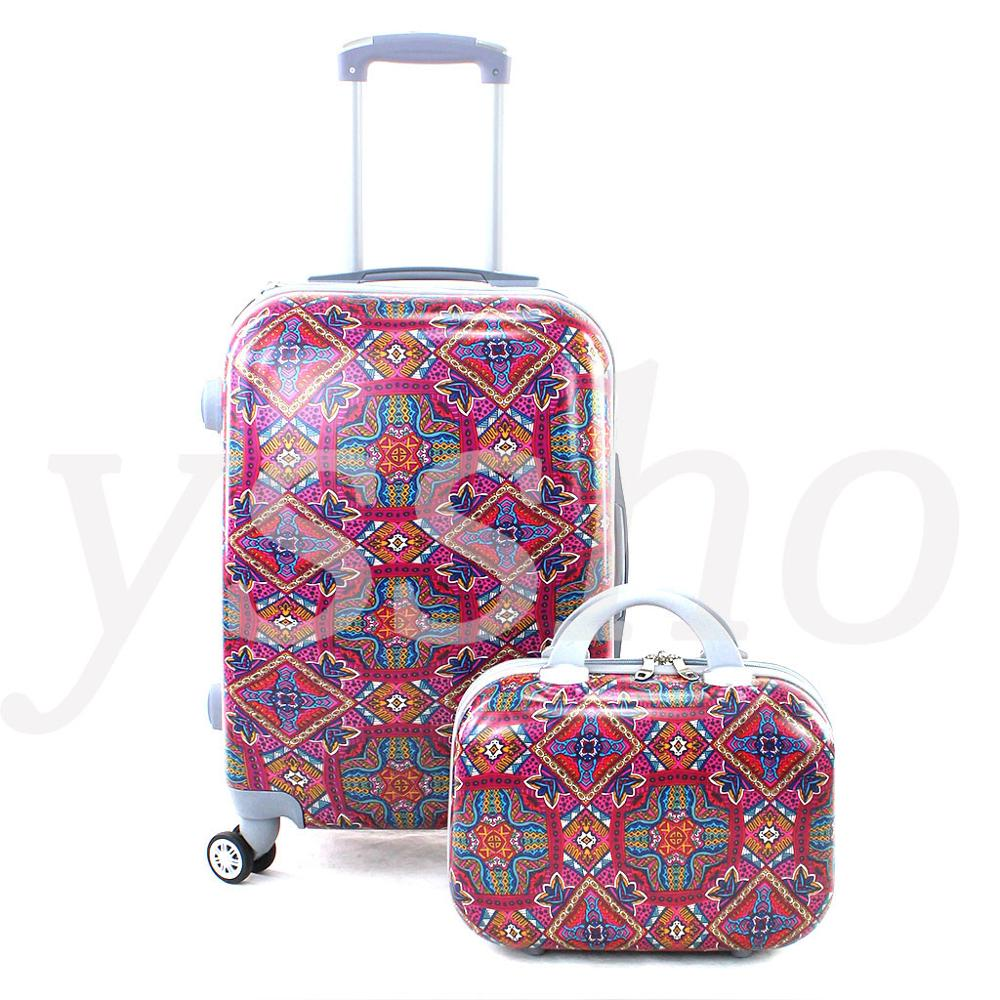 Cabin Suitcase Stamped Multicolor 55cm Rigid With Cosmetic Bag