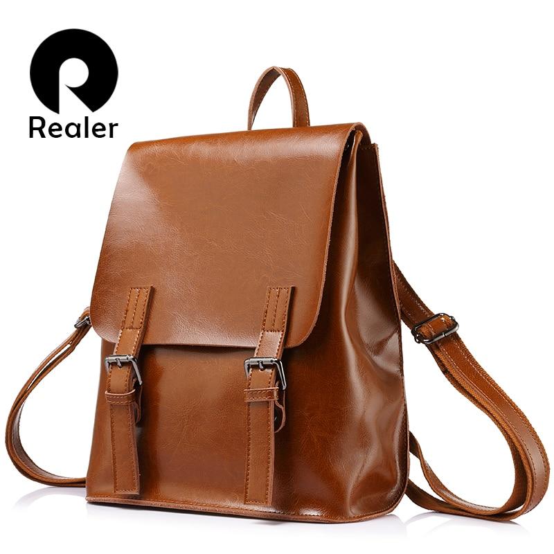 REALER fashion women oil wax cow split leather backpacks for teenage girls female backpacks large capacity shoulder bags цена и фото