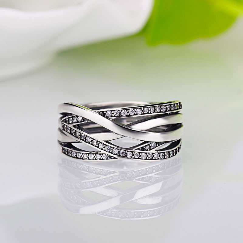 e025aa8da New Silver Color Sparkling Braided Pave Brand Ring for Women Wedding Luxury  Exaggerated Big Twisted Jewelry