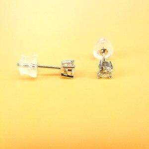 Женские серьги-гвоздики ANI из белого золота 18 К (AU750), круглые серьги с натуральным бриллиантом 0,4 карат
