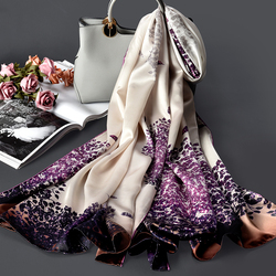 100% Pure Silk Scarf For Women Fashion Luxury Print Shawls Wraps For Ladies Real Natural Silk Long Scarves Foulard Femme