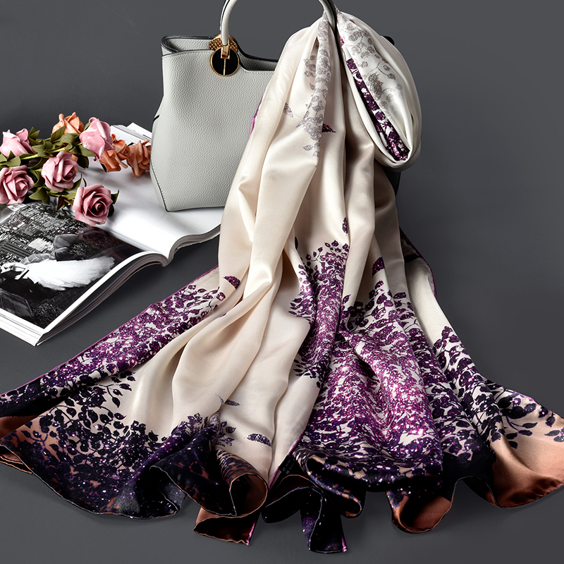 100% Pure Silk   Scarf   for Women Luxury Silk Shawls and   Wraps   for Ladies All-Match Pashmina Long Blanket   Scarf   Real Silk   Scarf