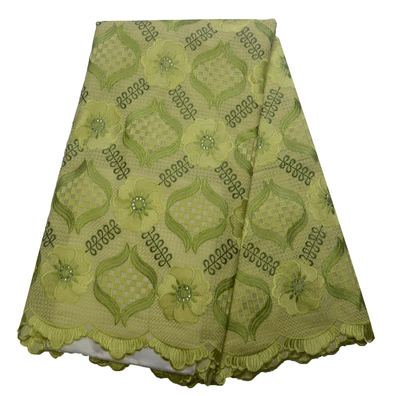 HFX African Green Lace Fabric Nigeria Wedding Dress Cotton Lace With Stones High Quality Swiss Voile Lace In Switzerland L146-1