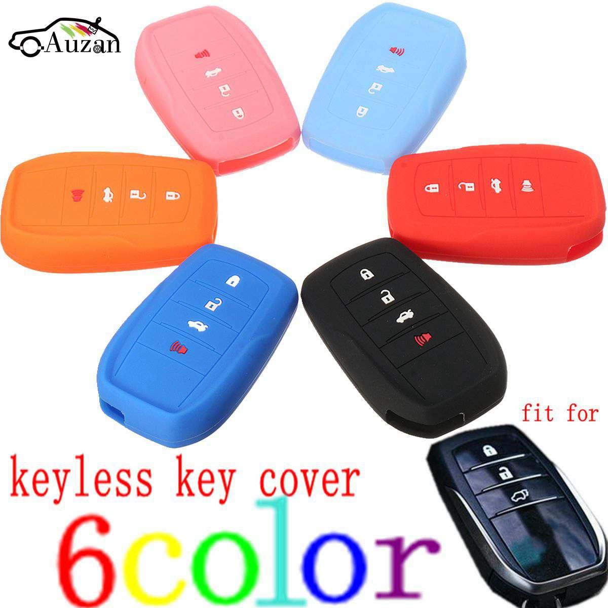 4 Buttons Silicone Cover Fit For Toyota Fortuner Rav4 Highlander Crown Smart Remote Key BK