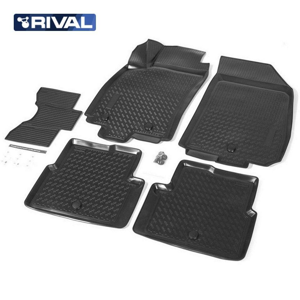 For Ravon R4 2016-2019 3D floor mats into saloon 5 pcs/set Rival 11002001 for ravon r4 2016 2019 rubber floor mats into saloon 5 pcs set seintex 82910